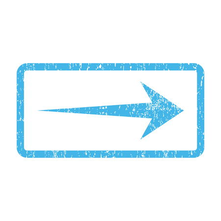 propel: Arrow Right rubber seal stamp watermark. Vector pictogram symbol inside rounded rectangle with grunge design and dust texture. Scratched blue ink emblem print on a white background.