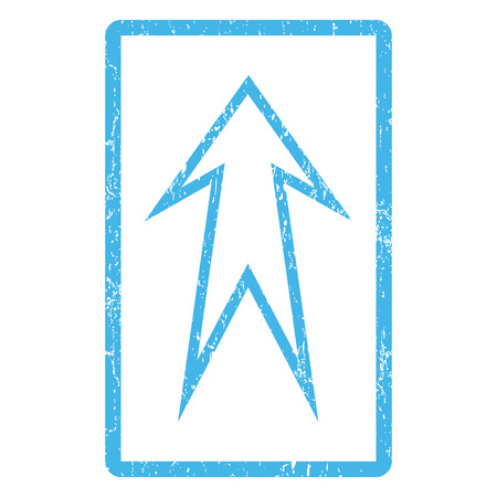 penetrating: Arrow Up rubber seal stamp watermark. Vector icon symbol inside rounded rectangle with grunge design and dirty texture. Scratched blue ink sign print on a white background.