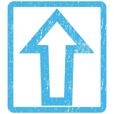 Filigrane du timbre du joint d'étanchéité Arrow Up. Symbole de pictogramme vectoriel à l'intérieur d'un rectangle arrondi avec un design grunge et une texture impure. Empreinte d'encre bleue rayée sur fond blanc.