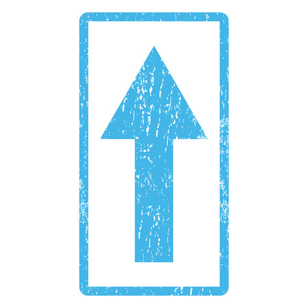 penetrating: Arrow Up rubber seal stamp watermark. Vector icon symbol inside rounded rectangular frame with grunge design and unclean texture. Scratched blue ink sticker print on a white background.