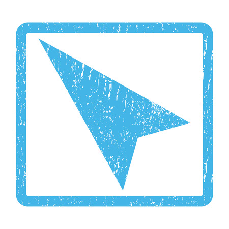 penetrating: Arrowhead Left-Up rubber seal stamp watermark. Vector icon symbol inside rounded rectangle with grunge design and scratched texture. Scratched blue ink sticker print on a white background.