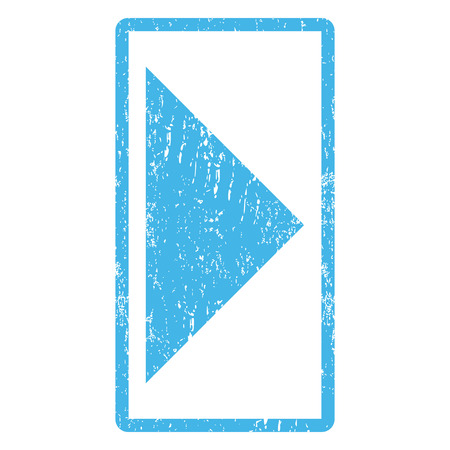 Arrowhead Right rubber seal stamp watermark. Vector pictogram symbol inside rounded rectangle with grunge design and scratched texture. Scratched blue ink emblem print on a white background.
