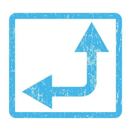 bifurcation: Bifurcation Arrow Left Up rubber seal stamp watermark. Vector pictogram symbol inside rounded rectangle with grunge design and scratched texture. Scratched blue ink sign print on a white background.