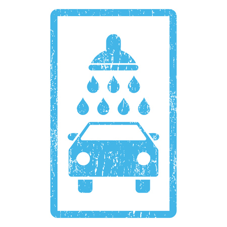 Car Shower rubber seal stamp watermark. Vector icon symbol inside rounded rectangular frame with grunge design and dirty texture. Scratched blue ink emblem print on a white background. Vectores