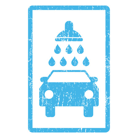 Car Wash rubber seal stamp watermark. Vector icon symbol inside rounded rectangular frame with grunge design and unclean texture. Scratched blue ink emblem print on a white background.