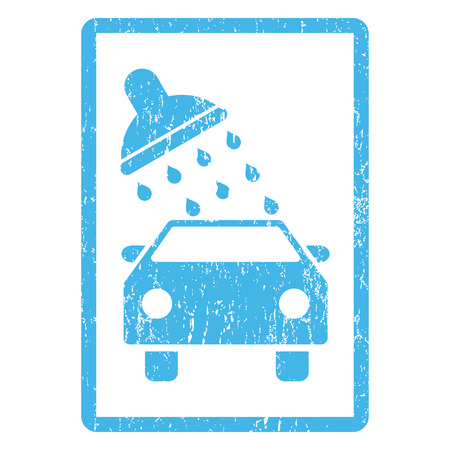 Car Wash rubber seal stamp watermark. Vector icon symbol inside rounded rectangular frame with grunge design and dirty texture. Scratched blue ink sticker print on a white background. Vectores