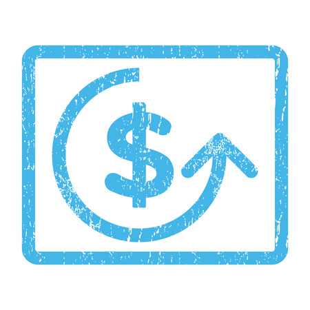 moneyback: Chargeback rubber seal stamp watermark. Vector icon symbol inside rounded rectangular frame with grunge design and unclean texture. Scratched blue ink sign print on a white background. Illustration
