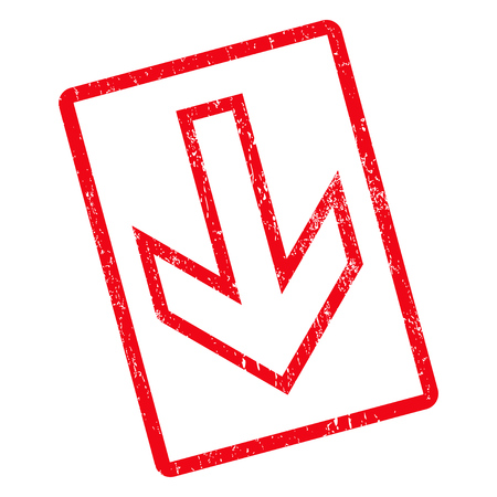 Arrow Down rubber seal stamp watermark. Glyph icon symbol inside rotated rounded rectangle with grunge design and dust texture. Unclean red ink emblem on a white background.