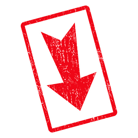 Arrow Down rubber seal stamp watermark. Glyph pictogram symbol inside rotated rounded rectangular frame with grunge design and unclean texture. Unclean red ink emblem on a white background. Stock Photo