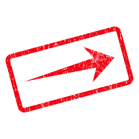 proceed: Arrow Right rubber seal stamp watermark. Glyph icon symbol inside rotated rounded rectangular frame with grunge design and dust texture. Unclean red ink sign on a white background. Stock Photo