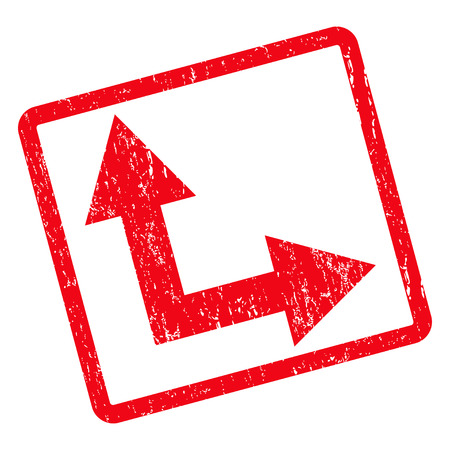 Bifurcation Arrow Right Up rubber seal stamp watermark. Glyph icon symbol inside rotated rounded rectangle with grunge design and scratched texture. Unclean red ink sign on a white background.