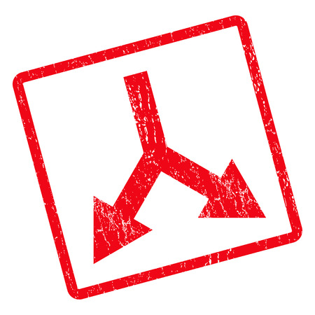 Bifurcation Arrow Down rubber seal stamp watermark. Glyph pictogram symbol inside rotated rounded rectangle with grunge design and scratched texture. Unclean red ink sign on a white background.