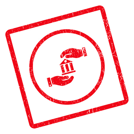 Bank Service rubber seal stamp watermark. Glyph icon symbol inside rotated rounded rectangular frame with grunge design and scratched texture. Unclean red ink sign on a white background.