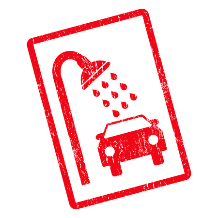 dirty car: Car Shower rubber seal stamp watermark. Glyph pictogram symbol inside rotated rounded rectangle with grunge design and dirty texture. Unclean red ink sign on a white background.