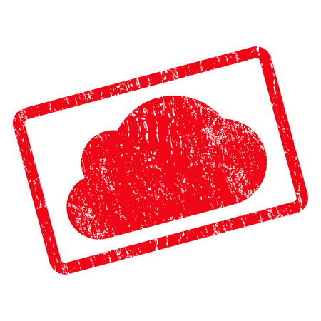 saas: Cloud rubber seal stamp watermark. Glyph icon symbol inside rotated rounded rectangular frame with grunge design and scratched texture. Unclean red ink sign on a white background. Stock Photo