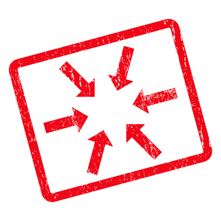 shrink: Compact Arrows rubber seal stamp watermark. Glyph pictogram symbol inside rotated rounded rectangular frame with grunge design and scratched texture. Unclean red ink sticker on a white background. Stock Photo