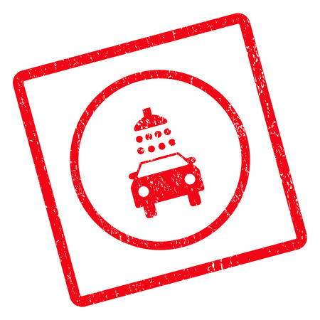 dirty car: Car Shower rubber seal stamp watermark. Glyph pictogram symbol inside rotated rounded rectangular frame with grunge design and dirty texture. Unclean red ink sticker on a white background.