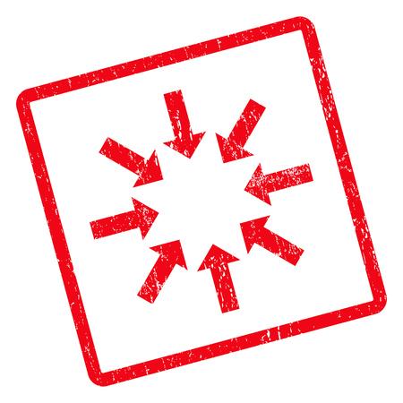 derrumbe: Contraer flechas sello de goma sello marca de agua. símbolo pictograma glifo girado dentro de marco rectangular redondeada con diseño de grunge y textura impuro. Impuro pegatina tinta roja sobre un fondo blanco.