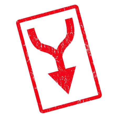 Kombinieren Sie Pfeil nach unten Gummidichtung Stempel Wasserzeichen. Inneres des Glyphikonensymbols drehte gerundeten rechteckigen Rahmen mit Schmutzdesign und Staubbeschaffenheit. Zeichen der unreinen roten Tinte auf einem weißen Hintergrund.