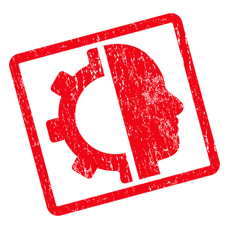 Cyborg Gear rubber seal stamp watermark. Glyph pictogram symbol inside rotated rounded rectangle with grunge design and unclean texture. Unclean red ink sticker on a white background. Stock Photo