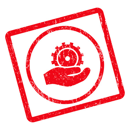 configuration: Development Service rubber seal stamp watermark. Glyph pictogram symbol inside rotated rounded rectangle with grunge design and dirty texture. Unclean red ink sign on a white background. Stock Photo