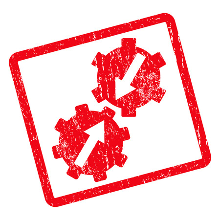 Gear Integration rubber seal stamp watermark. Glyph icon symbol inside rotated rounded rectangle with grunge design and scratched texture. Unclean red ink sticker on a white background.