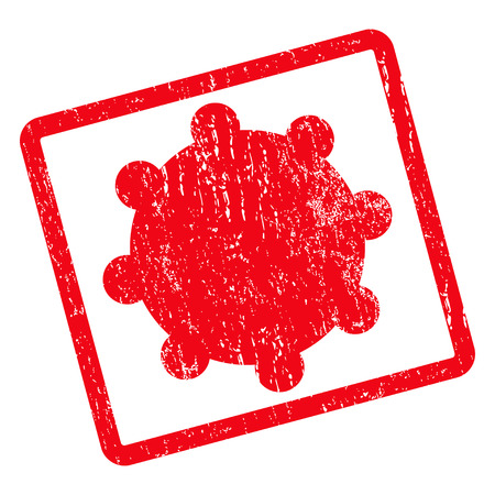 config: Gear rubber seal stamp watermark. Glyph pictogram symbol inside rotated rounded rectangular frame with grunge design and dirty texture. Unclean red ink sticker on a white background.