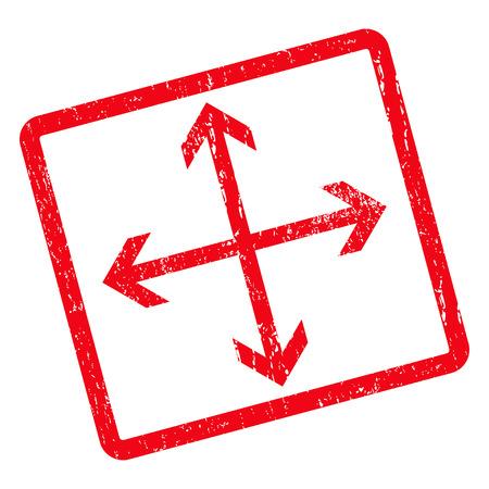 Expanda la marca de agua del sello del sello de goma Arrows. Símbolo de icono de glifo dentro de rectángulo redondeado girado con diseño de grunge y textura rayada. Signo de tinta roja sucia sobre un fondo blanco.