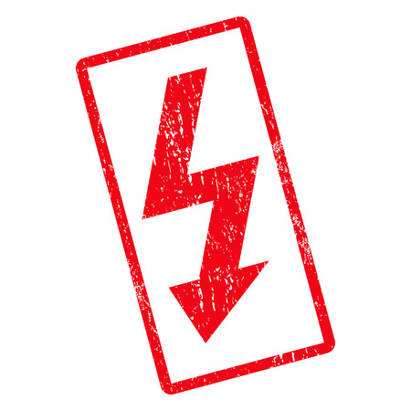 high voltage: High Voltage rubber seal stamp watermark. Glyph pictogram symbol inside rotated rounded rectangular frame with grunge design and scratched texture. Unclean red ink sticker on a white background. Stock Photo