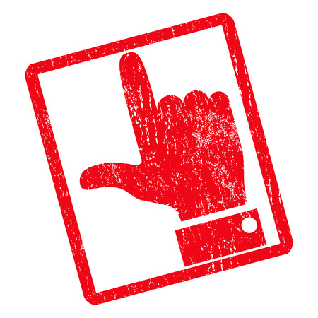 Hand Pointer Up rubber seal stamp watermark. Glyph pictogram symbol inside rotated rounded rectangular frame with grunge design and scratched texture. Unclean red ink emblem on a white background. Stock Photo