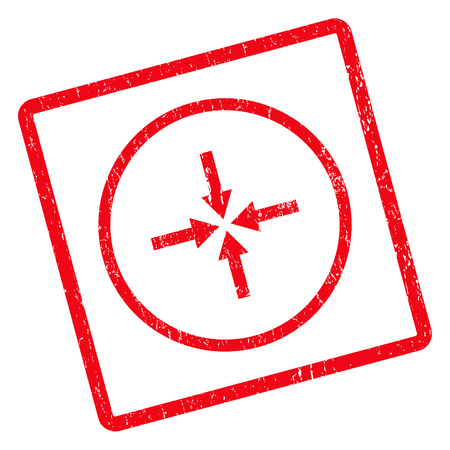shrink: Impact Arrows rubber seal stamp watermark. Glyph icon symbol inside rotated rounded rectangle with grunge design and unclean texture. Unclean red ink emblem on a white background.