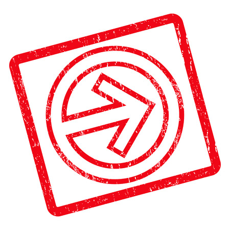 Import rubber seal stamp watermark. Glyph icon symbol inside rotated rounded rectangle with grunge design and dirty texture. Unclean red ink sign on a white background.
