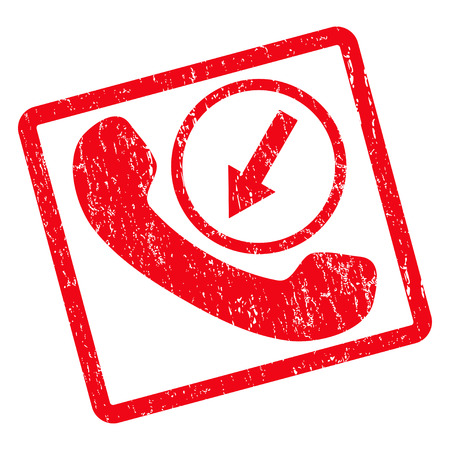 Incoming Call rubber seal stamp watermark. Glyph icon symbol inside rotated rounded rectangle with grunge design and dirty texture. Unclean red ink emblem on a white background. Stock Photo