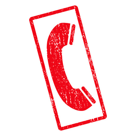 phone receiver: Phone Receiver rubber seal stamp watermark. Glyph pictogram symbol inside rotated rounded rectangular frame with grunge design and dirty texture. Unclean red ink sticker on a white background.
