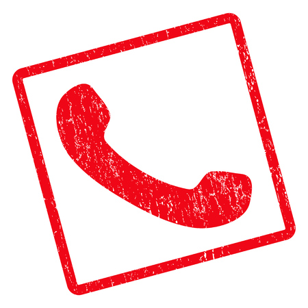 phone receiver: Phone Receiver rubber seal stamp watermark. Glyph pictogram symbol inside rotated rounded rectangle with grunge design and unclean texture. Unclean red ink sign on a white background.