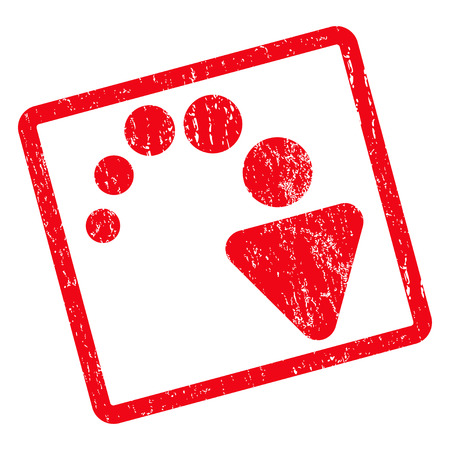 redo: Redo rubber seal stamp watermark. Glyph icon symbol inside rotated rounded rectangle with grunge design and dirty texture. Unclean red ink sign on a white background.