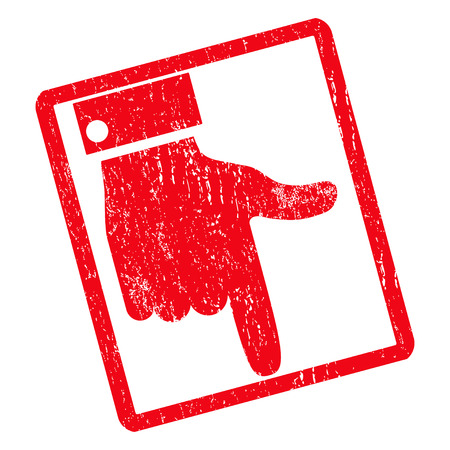 Hand Pointer Down rubber seal stamp watermark. Glyph pictogram symbol inside rotated rounded rectangle with grunge design and dust texture. Unclean red ink sticker on a white background.