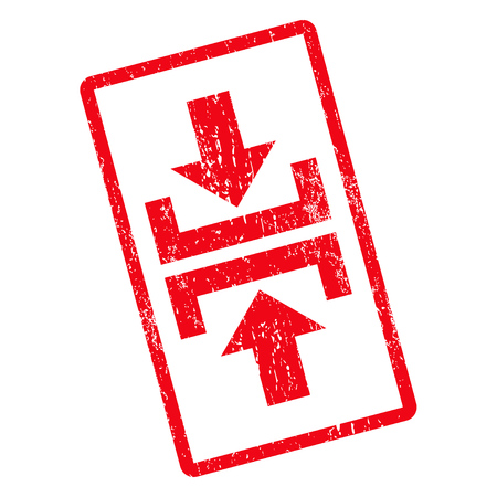 resize: Press Vertical Direction rubber seal stamp watermark. Glyph icon symbol inside rotated rounded rectangle with grunge design and unclean texture. Unclean red ink sticker on a white background.