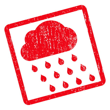 watery: Rain Cloud rubber seal stamp watermark. Glyph icon symbol inside rotated rounded rectangular frame with grunge design and dust texture. Unclean red ink sign on a white background.