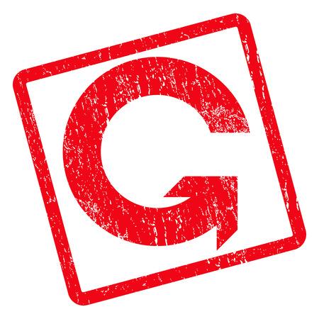 Gire la marca de agua del sello del sello de goma CCW. Símbolo de icono de glifo dentro de rectángulo redondeado girado con diseño de grunge y textura rayada. Emblema de tinta roja sucia sobre un fondo blanco.