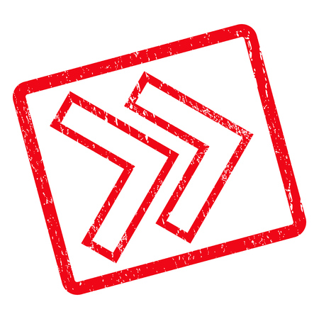 shift: Shift Right rubber seal stamp watermark. Glyph icon symbol inside rotated rounded rectangular frame with grunge design and dirty texture. Unclean red ink emblem on a white background.