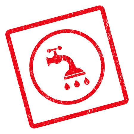 disinfection: Shower Tap rubber seal stamp watermark. Glyph pictogram symbol inside rotated rounded rectangle with grunge design and dirty texture. Unclean red ink emblem on a white background.
