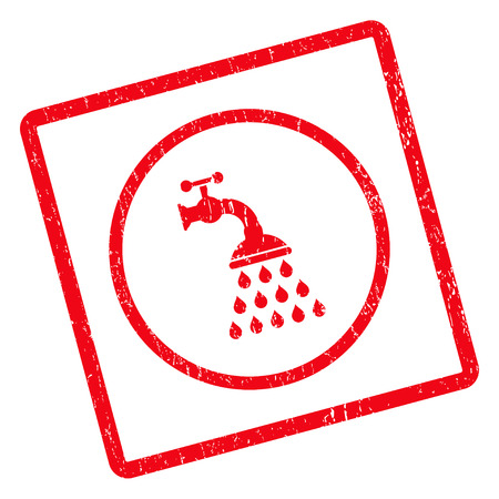 disinfection: Shower Tap rubber seal stamp watermark. Glyph icon symbol inside rotated rounded rectangular frame with grunge design and scratched texture. Unclean red ink emblem on a white background. Stock Photo