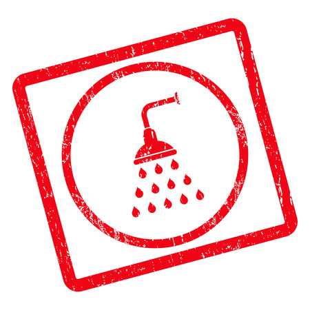 Shower rubber seal stamp watermark. Glyph icon symbol inside rotated rounded rectangle with grunge design and dust texture. Unclean red ink sticker on a white background. Stock Photo