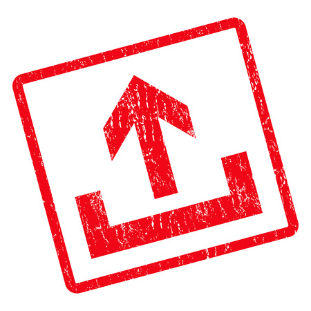 Upload rubber seal stamp watermark. Glyph icon symbol inside rotated rounded rectangular frame with grunge design and dirty texture. Unclean red ink sticker on a white background.