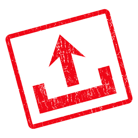 Upload rubber seal stamp watermark. Glyph icon symbol inside rotated rounded rectangle with grunge design and dust texture. Unclean red ink emblem on a white background.