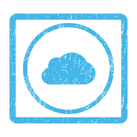 saas: Cloud rubber seal stamp watermark. Vector icon symbol inside rounded rectangular frame with grunge design and scratched texture. Scratched blue ink emblem print on a white background. Illustration