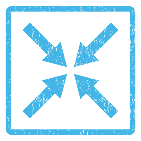 collide: Center Arrows rubber seal stamp watermark. Vector icon symbol inside rounded rectangular frame with grunge design and dust texture. Scratched blue ink sign print on a white background. Illustration
