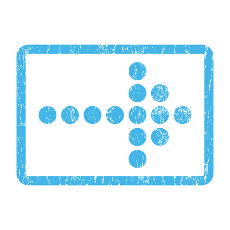 Dotted Arrow Right rubber seal stamp watermark. Vector pictogram symbol inside rounded rectangular frame with grunge design and unclean texture. Scratched blue ink sign print on a white background.