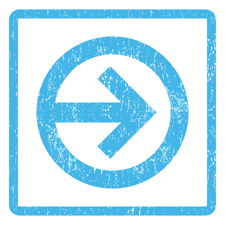 Direction Right rubber seal stamp watermark. Vector pictogram symbol inside rounded rectangle with grunge design and dirty texture. Scratched blue ink emblem print on a white background.